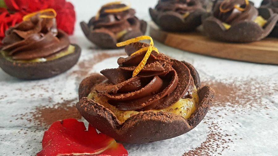 tartoletki czekoladowe z ganache i orange curd